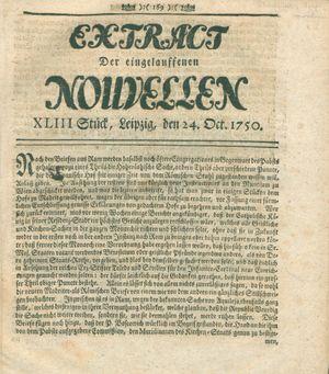 Extract der eingelauffenen Nouvellen vom 24.10.1750