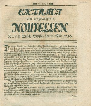 Extract der eingelauffenen Nouvellen vom 21.11.1750