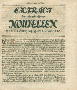 Extract der eingelauffenen Nouvellen vom 28.11.1750