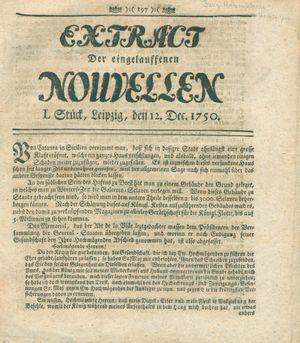 Extract der eingelauffenen Nouvellen vom 12.12.1750