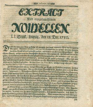 Extract der eingelauffenen Nouvellen vom 19.12.1750