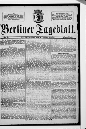 Berliner Tageblatt und Handels-Zeitung vom 04.01.1878
