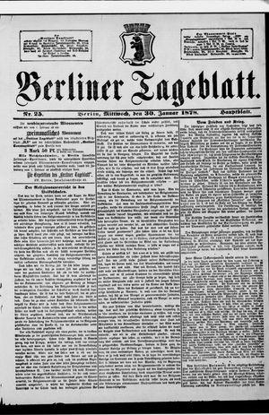 Berliner Tageblatt und Handels-Zeitung vom 30.01.1878