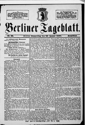 Berliner Tageblatt und Handels-Zeitung vom 31.01.1878