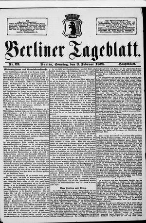 Berliner Tageblatt und Handels-Zeitung vom 03.02.1878