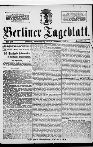 Berliner Tageblatt und Handels-Zeitung vom 07.02.1878