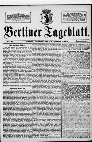 Berliner Tageblatt und Handels-Zeitung vom 13.02.1878