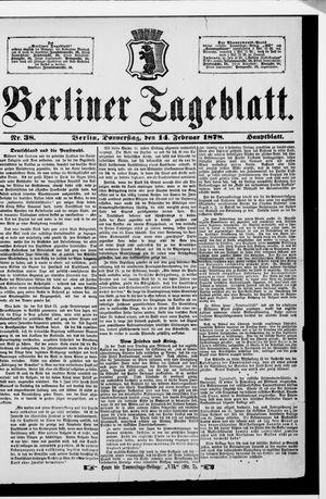 Berliner Tageblatt und Handels-Zeitung vom 14.02.1878