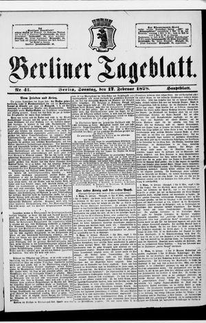 Berliner Tageblatt und Handels-Zeitung vom 17.02.1878