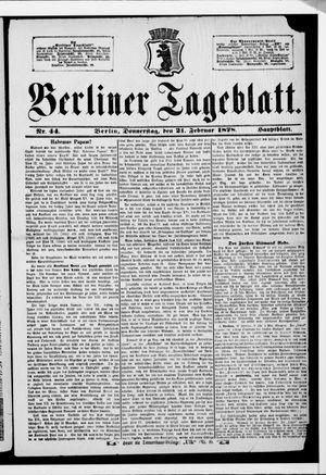 Berliner Tageblatt und Handels-Zeitung vom 21.02.1878