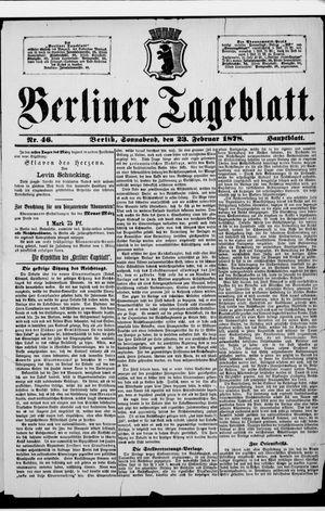 Berliner Tageblatt und Handels-Zeitung vom 23.02.1878