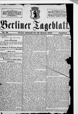 Berliner Tageblatt und Handels-Zeitung vom 27.02.1878