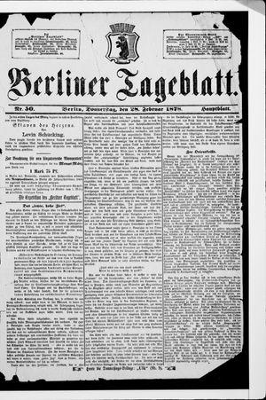 Berliner Tageblatt und Handels-Zeitung vom 28.02.1878