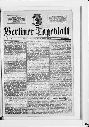 Berliner Tageblatt und Handels-Zeitung vom 01.03.1878