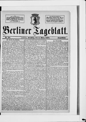 Berliner Tageblatt und Handels-Zeitung on Mar 5, 1878