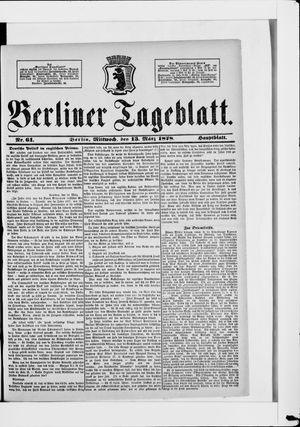 Berliner Tageblatt und Handels-Zeitung vom 13.03.1878