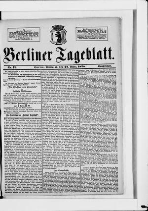 Berliner Tageblatt und Handels-Zeitung vom 27.03.1878