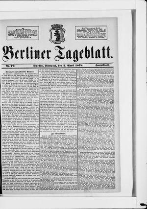 Berliner Tageblatt und Handels-Zeitung vom 03.04.1878