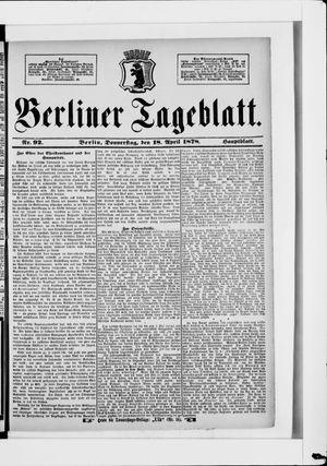 Berliner Tageblatt und Handels-Zeitung vom 18.04.1878