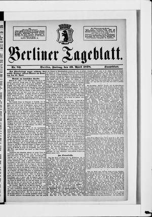 Berliner Tageblatt und Handels-Zeitung vom 19.04.1878