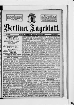 Berliner Tageblatt und Handels-Zeitung vom 24.04.1878