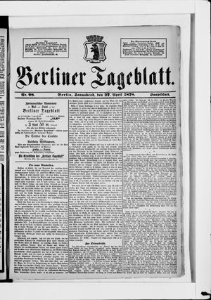 Berliner Tageblatt und Handels-Zeitung vom 27.04.1878