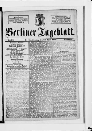 Berliner Tageblatt und Handels-Zeitung vom 28.04.1878