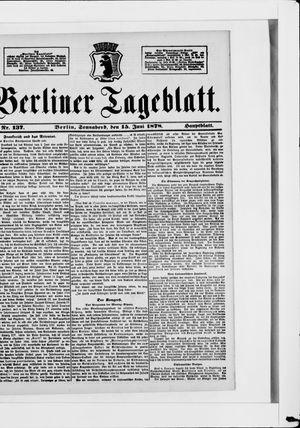 Berliner Tageblatt und Handels-Zeitung vom 15.06.1878