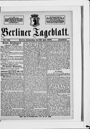 Berliner Tageblatt und Handels-Zeitung vom 20.06.1878