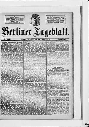 Berliner Tageblatt und Handels-Zeitung vom 21.06.1878