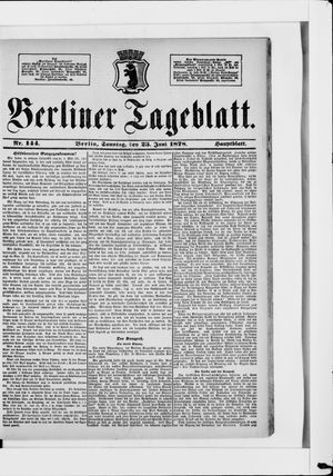 Berliner Tageblatt und Handels-Zeitung vom 23.06.1878