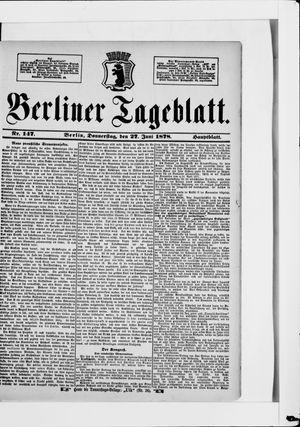 Berliner Tageblatt und Handels-Zeitung vom 27.06.1878