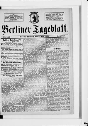 Berliner Tageblatt und Handels-Zeitung vom 03.07.1878