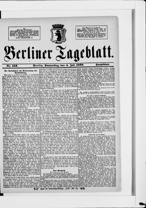 Berliner Tageblatt und Handels-Zeitung vom 04.07.1878