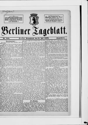 Berliner Tageblatt und Handels-Zeitung vom 06.07.1878