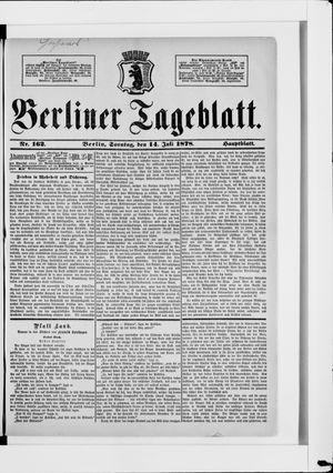 Berliner Tageblatt und Handels-Zeitung vom 14.07.1878