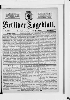 Berliner Tageblatt und Handels-Zeitung vom 18.07.1878