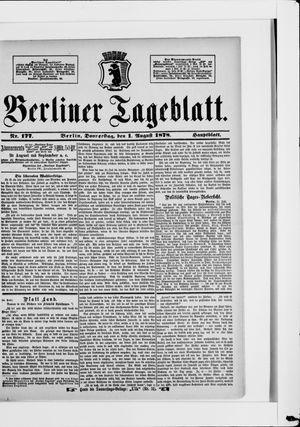 Berliner Tageblatt und Handels-Zeitung vom 01.08.1878