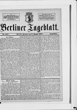 Berliner Tageblatt und Handels-Zeitung vom 09.08.1878
