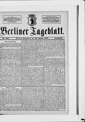 Berliner Tageblatt und Handels-Zeitung vom 10.08.1878