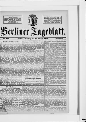 Berliner Tageblatt und Handels-Zeitung vom 13.08.1878
