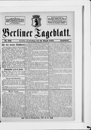 Berliner Tageblatt und Handels-Zeitung on Aug 15, 1878