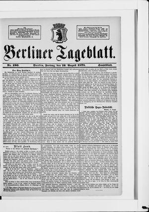 Berliner Tageblatt und Handels-Zeitung vom 16.08.1878