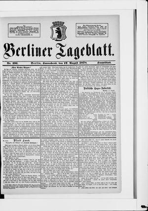 Berliner Tageblatt und Handels-Zeitung vom 17.08.1878