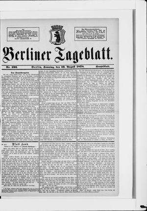 Berliner Tageblatt und Handels-Zeitung vom 18.08.1878