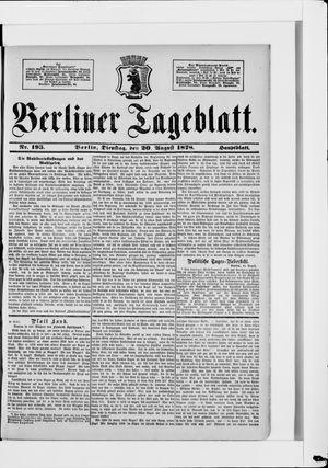 Berliner Tageblatt und Handels-Zeitung vom 20.08.1878