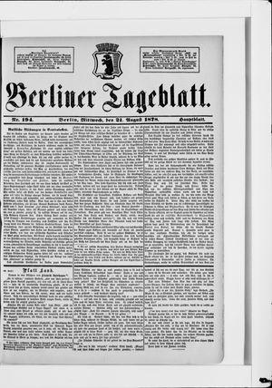 Berliner Tageblatt und Handels-Zeitung vom 21.08.1878