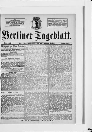 Berliner Tageblatt und Handels-Zeitung vom 22.08.1878