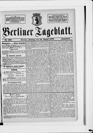 Berliner Tageblatt und Handels-Zeitung vom 25.08.1878