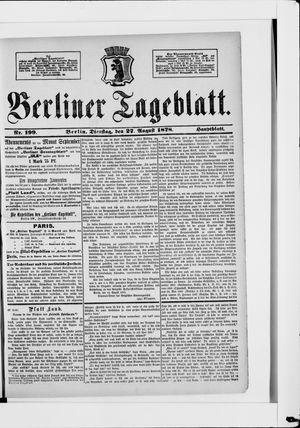 Berliner Tageblatt und Handels-Zeitung vom 27.08.1878